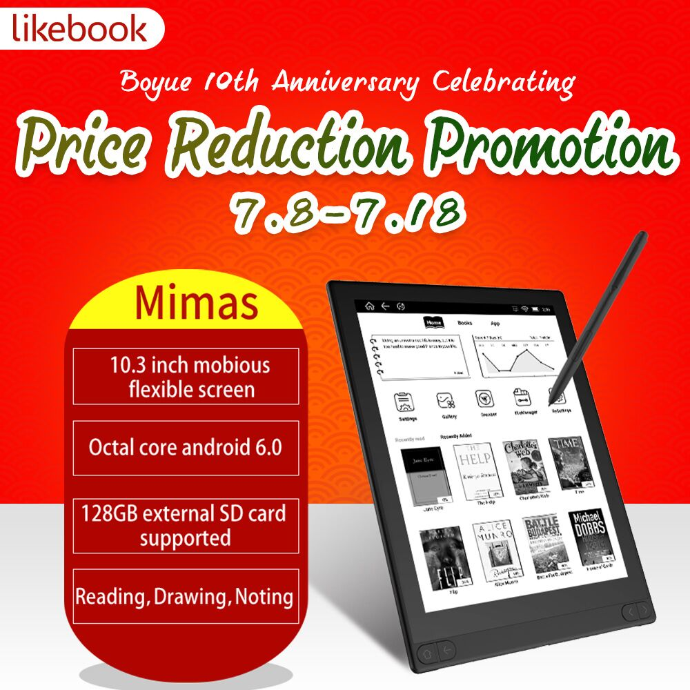 Send From US BOYUE LIKEBOOK MIMAS e Book Reader 10 3 inch Android 6 0 eReader