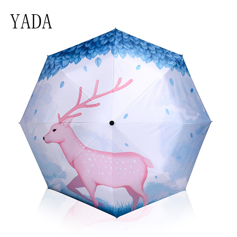 YADA Blue Designer Cartoon Deer Patio Umbrella Rain Women uv High Quality Umbrella For Womens Windproof Folding Umbrellas YS108