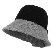 679d2986378e Women Knit Hats Bucket Hat Fall Winter Warm Knitted Dome Wide Brim Fisher  Cap Lady Elegant