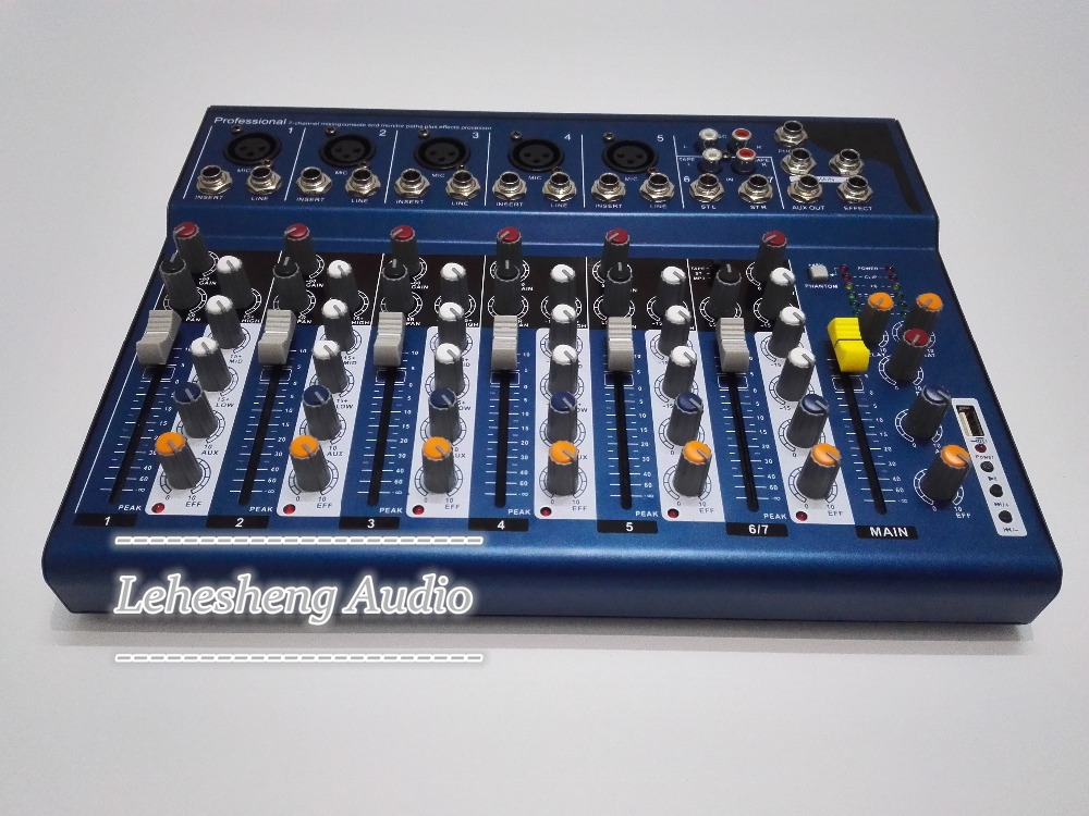 F7 DJ Mixer Y M H 7 Channels Audio Mixer With USB Input Sound Console DJ