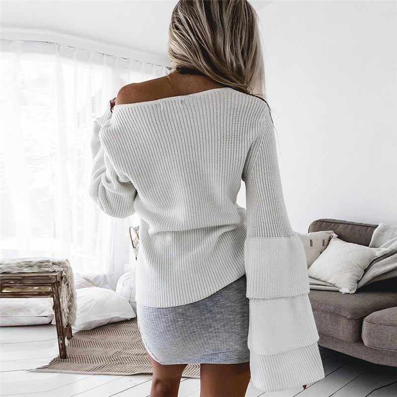 Гайавате 2018 вязаный свитер Для женщин v-образным вырезом пуловер с длинными рукавами Осень бабочка рукав Перемычка тянуть роковой AW075