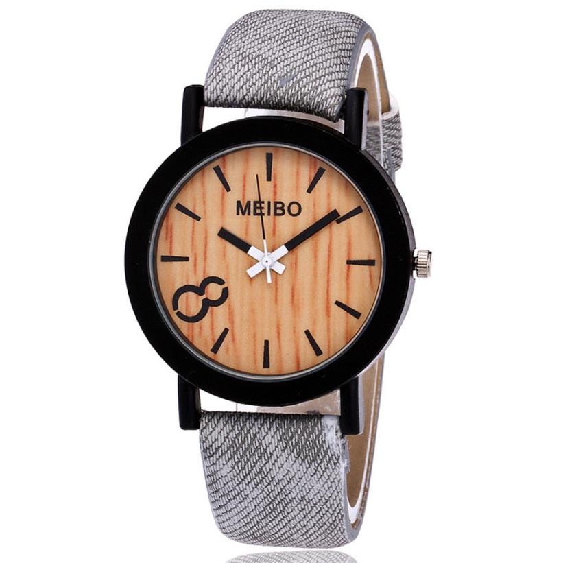 Women Watches 2018 New Fashion Modeling Wooden Quartz Mens Watch Casual Wooden Color PU Leather Bracelet Watch relogio feminino
