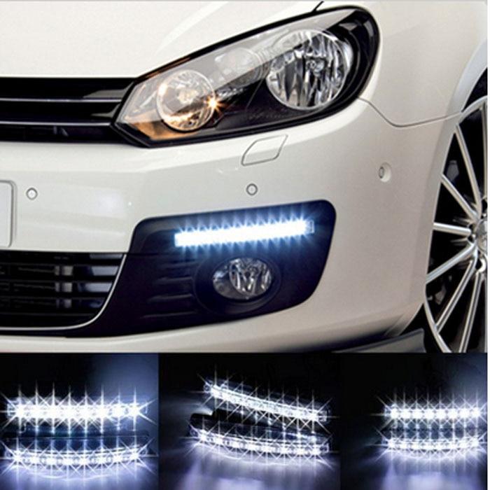 Free shipping Super White 8 LED Car DRL daytime running lights parking lamp fog lights 12V DC Head Lamp car styling