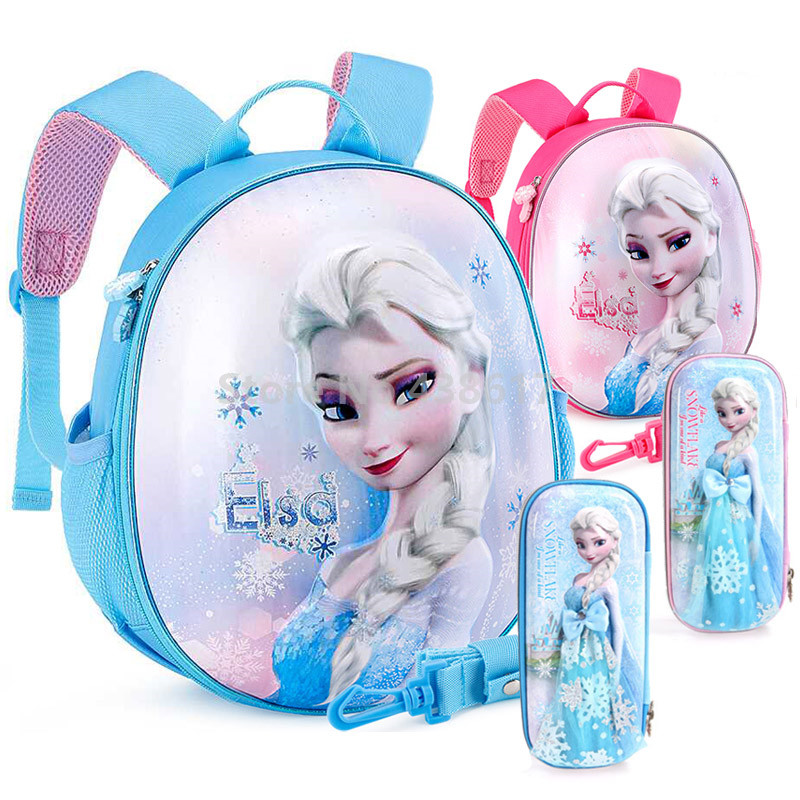 New Elsa Princess Anti lost Hard Shell Backpack With Pencil Case Set Bags for Kids Toddler