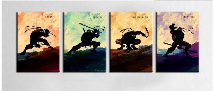 <font><b>2015</b></font> Hand Painted Oil Painting On Canvas <font><b>Teenage</b></font> <font><b>Mutant</b></font> <font><b>Ninja</b></font> <font><b>Turtles</b></font> 4 panels Modern Comic canvas Wall Art Decor picture <font><b>Set</b></font>