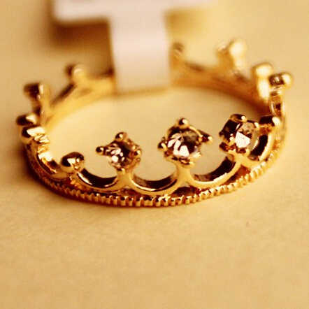 New Fashion Flash Bor Crown Jewelry Cincin Shiny Elegant Beauty Rings