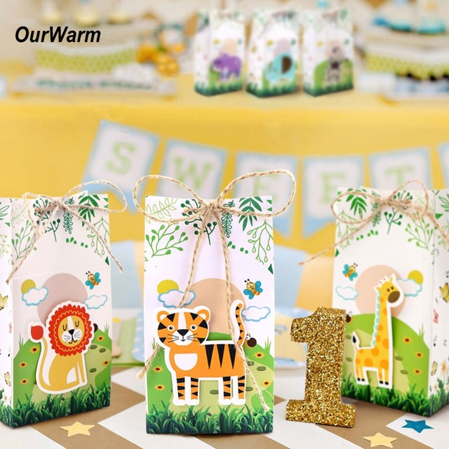 OurWarm 12 Pcs Jungle Safari Animais Sacos de Cartão de Presente de Papel Favor De Partido Doces Caixa com Estopa Crianças Festa de Aniversário Do Bebê decorações