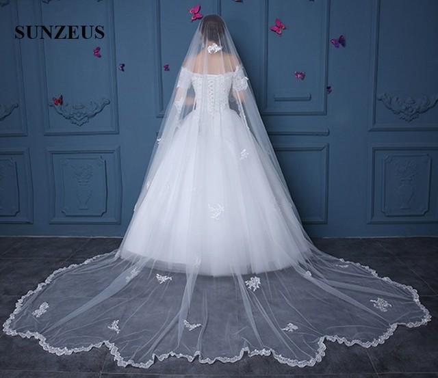2298eced3d Wedding Vail Appliques One Layer Lace Edge Long Bridal Veils velos de novia  largos WV082