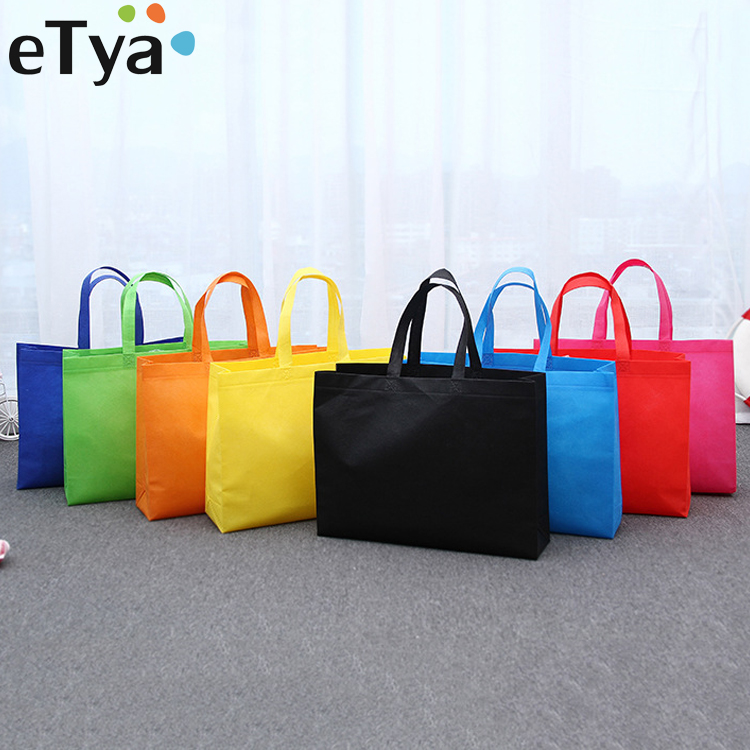 ETya Hot Foldable Shopping Bag Reusable Storage Handbag Unisex Grocery Tote Non-woven Shoulder Bag Cloth Bags Travel Hand Pouch