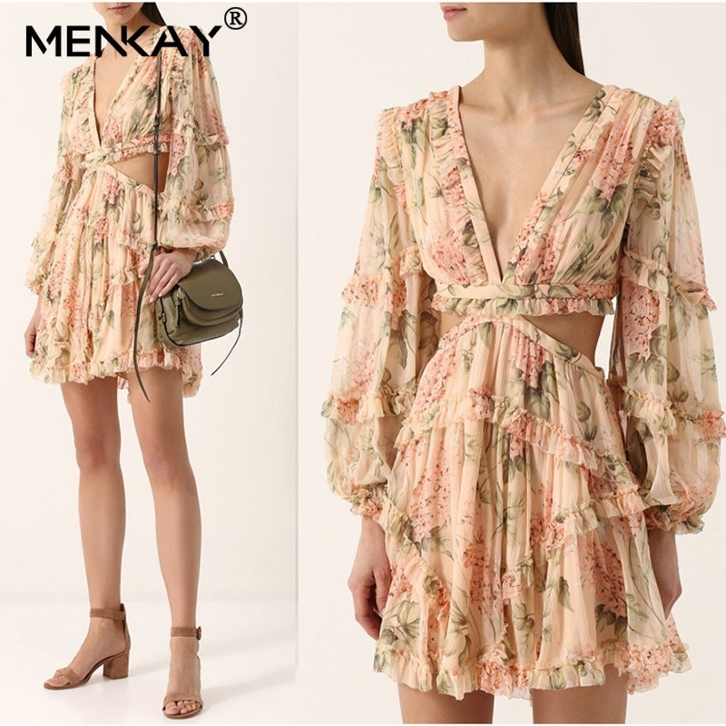 [MENKAY] Floral Print Female Silk V Neck Hollow Out Lantern Sleeve High Waist 2019 Holiday Beach Mini Dresses Summer Fashion