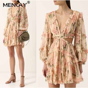 [MENKAY] Floral Print Female Silk V Neck Hollow Out Lantern Sleeve High Waist 2019 Holiday Beach Mini Dresses Summer Fashion - DISCOUNT ITEM  40% OFF All Category