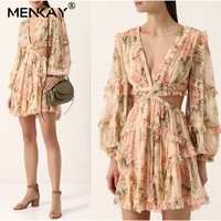 [MENKAY] Floral Print Female Silk V Neck Hollow Out Lantern Sleeve High Waist 2019 Holiday Beach Mini Dresses Summer Fashion