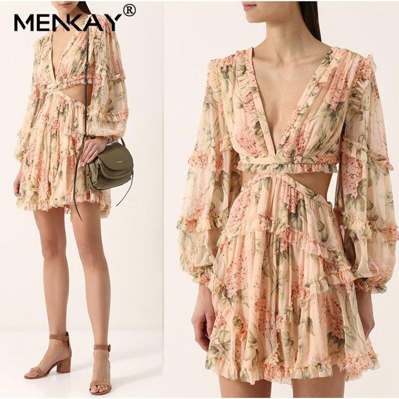 [MENKAY] imprimé Floral femme soie col en V évider lanterne manches taille haute 2019 vacances plage Mini robes mode d'été