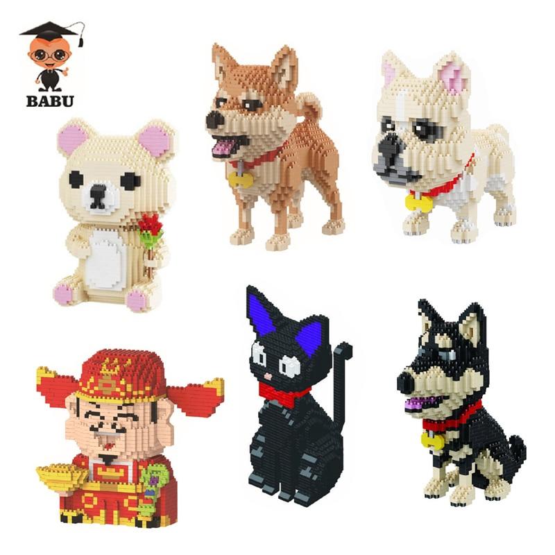 2019 Rosa Bär Shiba Rasse Hund Katze Husky Bulldog Gott Des Reichtums Tier Pet 3d Modell Diamant Mini Gebäude Nano Blöcke Spielzeug Geschenk