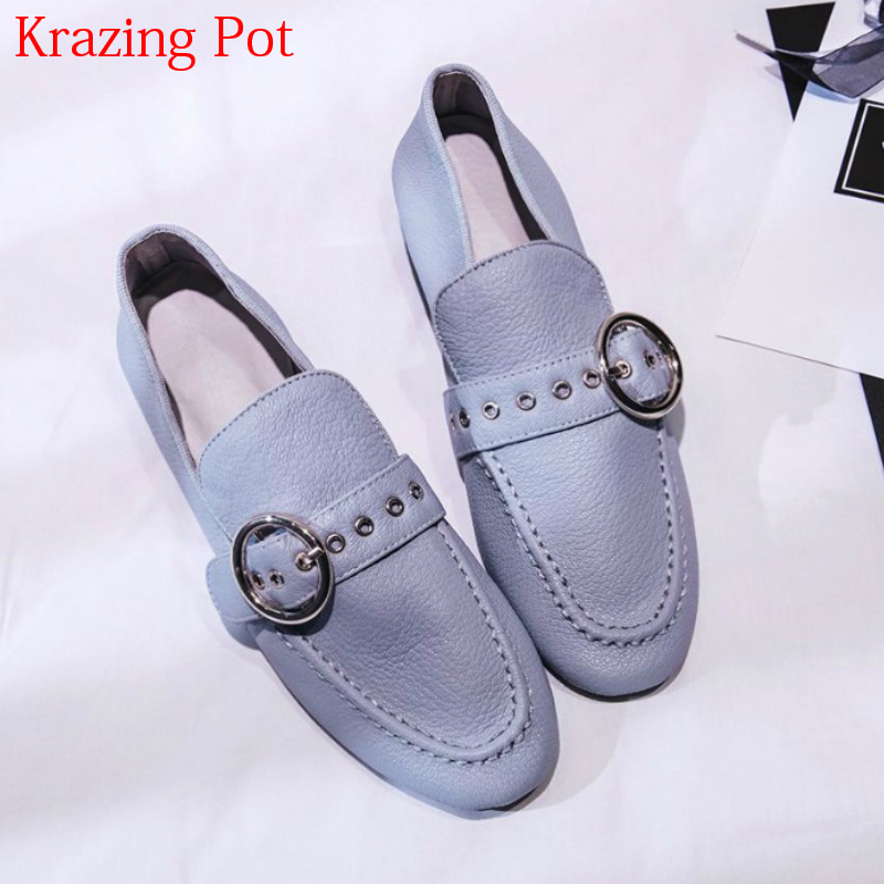 2018 Superstar Sheep Skin Slip on Streetwear Glove Grandma Shoes Sweet Thick Heel Women Pumps Round Buckle Rivet Casual Shoe L71 2018 superstar genuine leather streetwear med heels tassel slip on women pumps round toe retro sweet handmade casual shoes l03