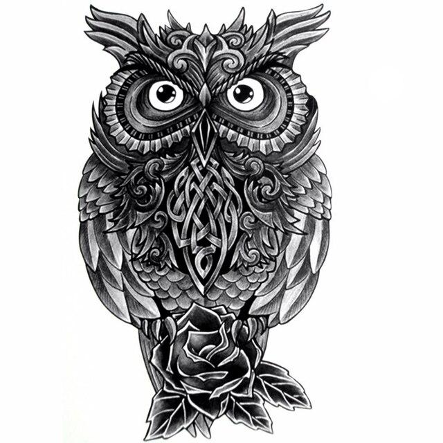 2 Pcs 3D Coruja Homens Tatuagens Temporrias Adesivos  Prova D Gua Tatuagem -1163