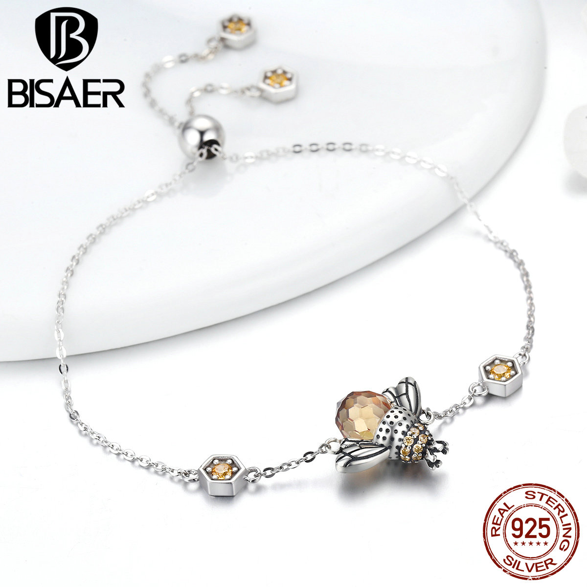 2018 Spring Collections 100% 925 Sterling Silver Dancing Bees Cute Insect Chain Bracelet for Women Fine Jewelry Gift