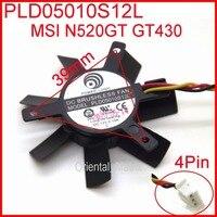 Envío Gratis PLD05010S12L DC12V 0.10A 45mm 32x32x32mm 4wire 3 Pines VGA Ventilador Para MSIGT440 N440GT Tarjeta Gráfica Ventilador De Refrigeración