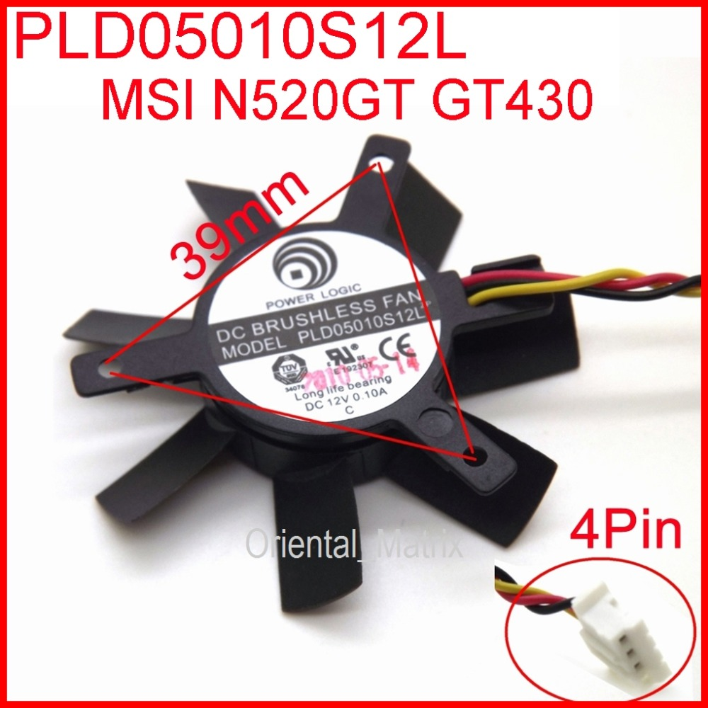 Free Shipping POWER LOGIC PLD05010S12L DC12V 0.10A 45mm 32x32x32mm 3Wire 4Pin For MSIGT440 N440GT Graphics Card Cooling Fan