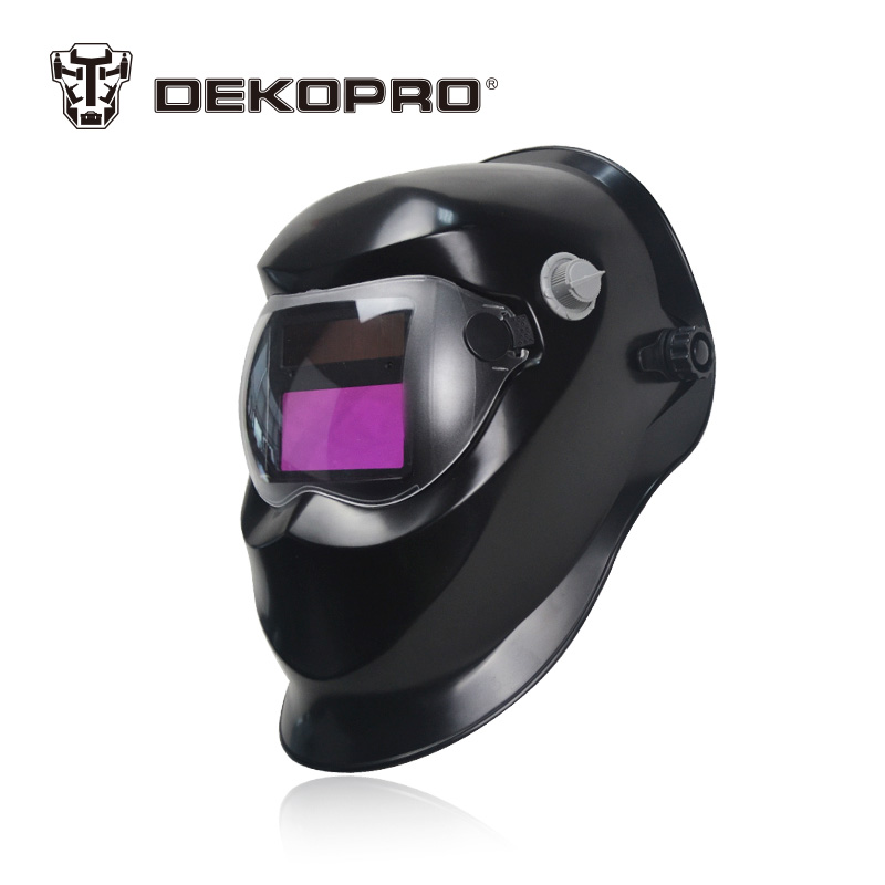 DEKOPRO Black Solar Auto Darkening Electric Welding Mask Helmet Welder Cap Welding Lens for Welding Machine fire flames auto darkening solar powered welder stepless adjust mask skull lens for welding helmet tools machine free shipping