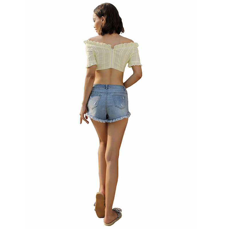 MUHAO Light color burr Washed slim fit jeans shorts women streetwear hight  waist mini club summer sexy Straight denim shorts