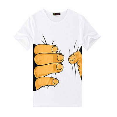 Moda masculina verão 3d grande mão impressão em torno do pescoço manga curta camiseta branca