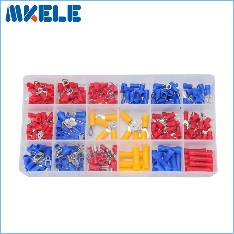 295Pcs/box 18 Types Insulated Terminals Electrical Crimp Connector Spade Ring Fork Assortment Kit With Box