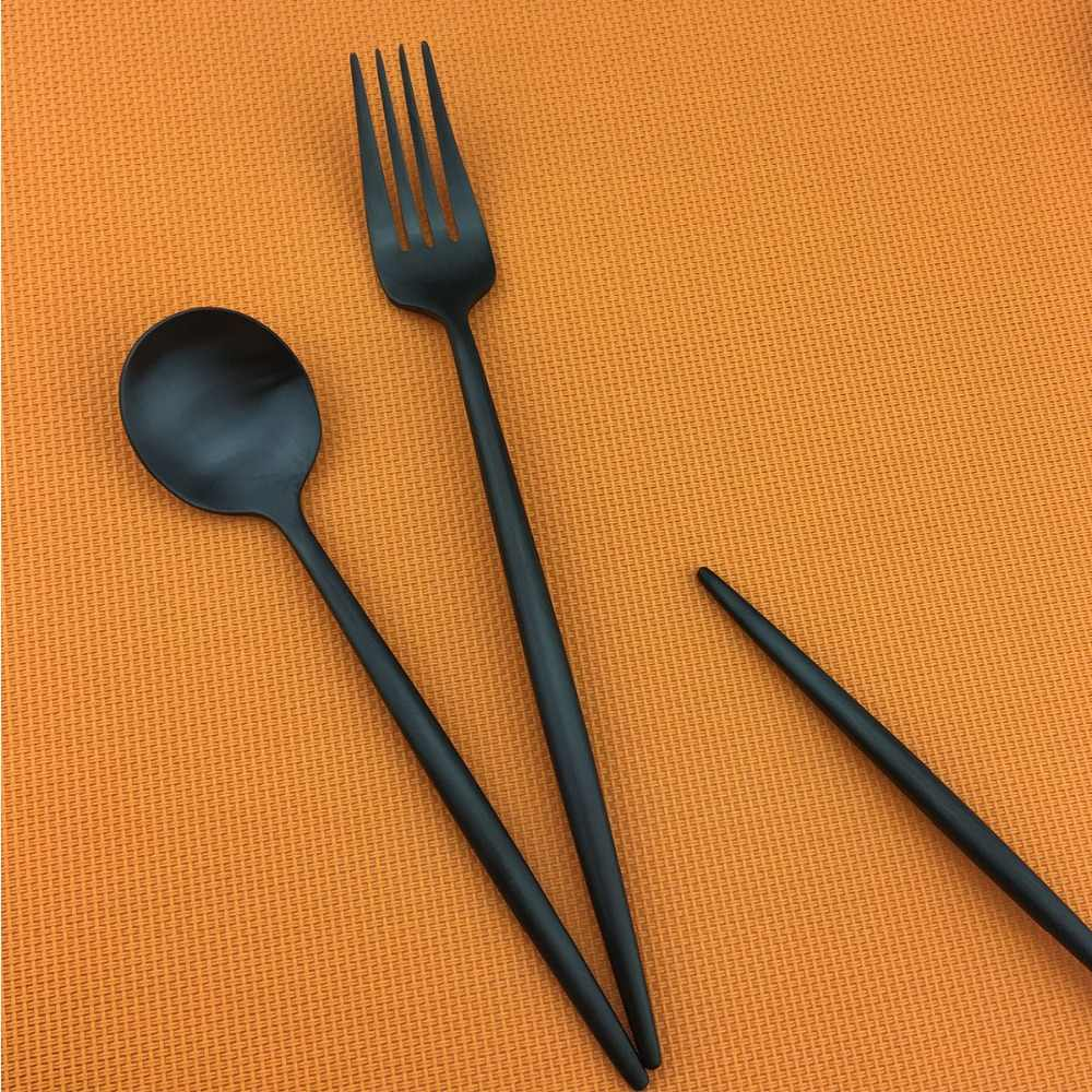 Couverts de luxe en acier inoxydable 18/10, couverts en métal noir, fourchette, couteau à Steak, couverts, service de table de cuisine 6 pièces