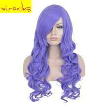 3162 Long Wavy Cosplay Wig Light Purple 60Cm Wig Synthetic Wigs For All Women Hair Heat Resistant Fiber Free Shipping Xi.rocks цена 2017