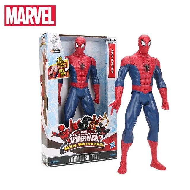Brinquedos maravilha 26-30 centímetros Eletrônicos ULTIMATE Spider-Man Capitão América Figura TITAN SÉRIE HERÓI Spiderman Ultra PVC figuras de ação