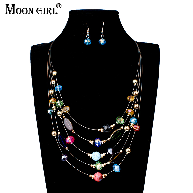 MOON GIRL 5 Color african beads jewelry set Fashion Statement Necklace  Earrings Crystal Beads Braid Jewelry Sets For Women