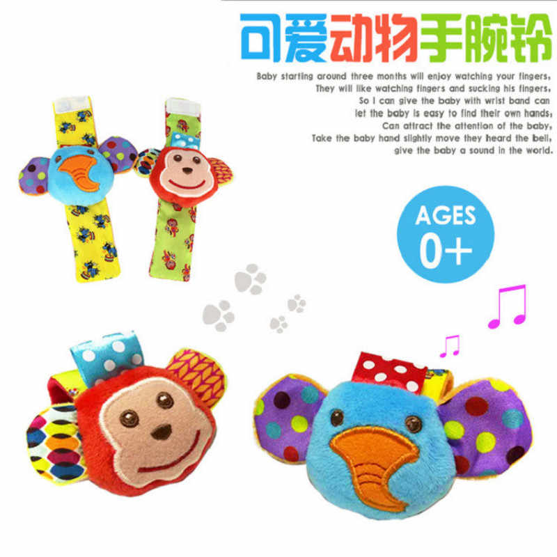 Baby Stroller Toy Animals Soft Plush Wrist Rattles Hand Wrist Strap Newborn Wristband Developmental Toys For Infant Foot Socks
