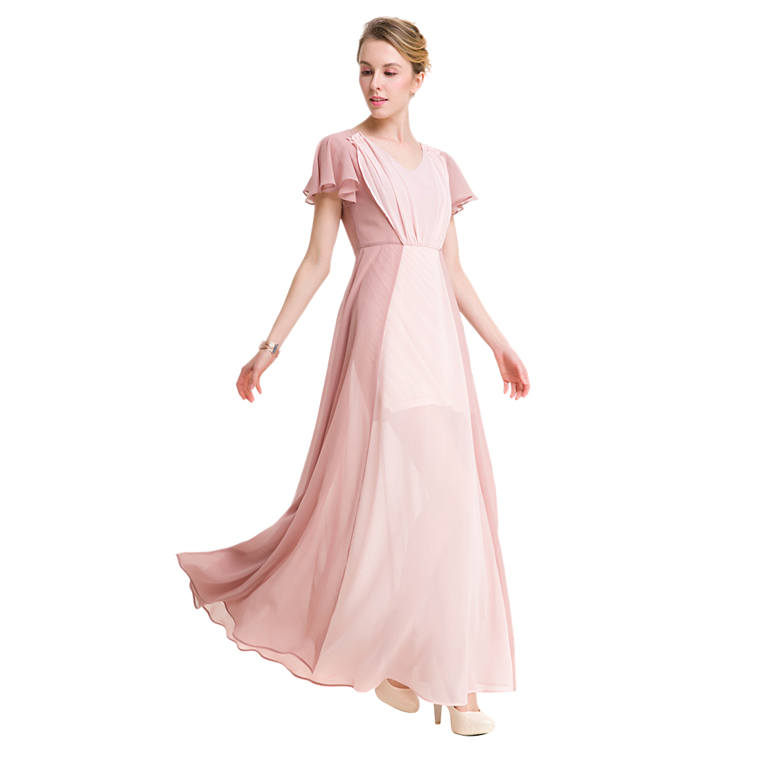 TFGS Original Design Women Long Chiffon Dress Patchwork Color Petal Sleeve V Neck Pleated Dress Casual