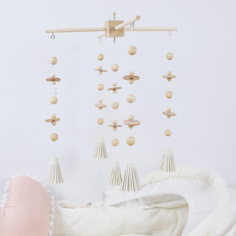 1 Set bébé lit de berceau Mobile cloche hochet jouets perles en bois carillons éoliens suspendus bricolage artisanat accessoires décor enfants chambre nouveau-né jouets