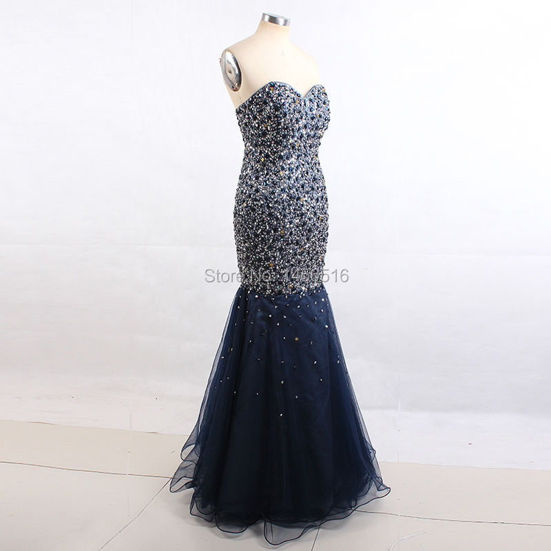 4d4c365589 Navy Blue Long Prom Dresses Real Photo Luxury Beaded Crystal Sequins ...