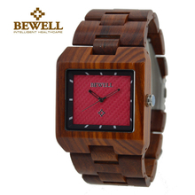 BEWELL Man Wooden Watch New Year Gift Shock Resitant Watch Men Red Sandalwood Watches Luxury Role Men Relogio Masculino Watches