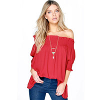 Sexy Women Solid Shirred Off Shoulder Pops Nice Blusas Femininas Casual Half Sleeve Loose Blouse Shirt Cheap Clothes China S/XL
