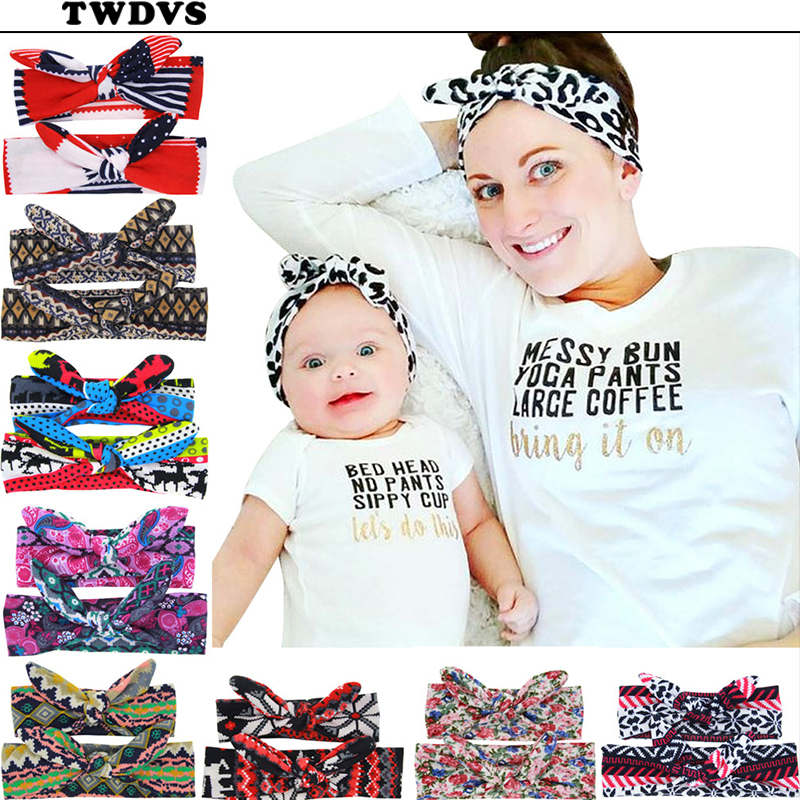 TWDVS Kids and Mother Paternity Set Colorful Knot Headband nowborn Women Cotton hair Elastic Bands Ring Hair Accessories W2490 metting joura vintage bohemian ethnic tribal flower print stone handmade elastic headband hair band design hair accessories