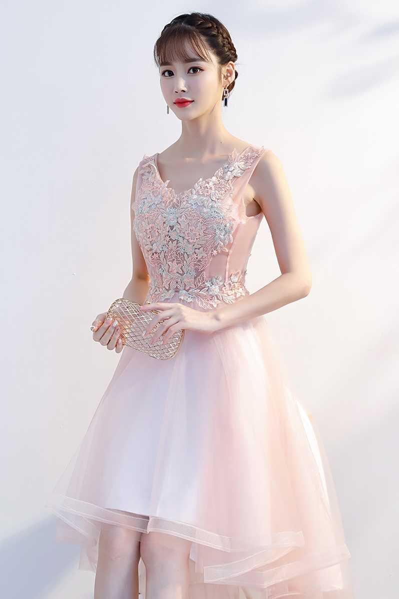 8df8bfba65 ... Pink Prom Dresses Short Front Long Back Lace Appliques A-line Scoop Vestido  De Gala ...