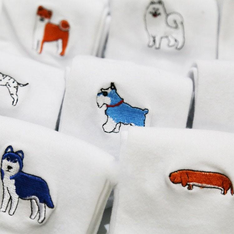 cute animal husky embroidery women cotton white socks lovely dog Jacquard female pure color socks funny kawaii pug meias soks 4