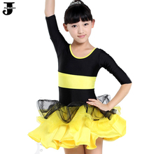 Latin Dance Dress For Girls Rose/Green/Yellow Cha Cha/Rumba/Samba/Ballet Dancewear Layered Dress Dance Costumes For Kids DQ4054