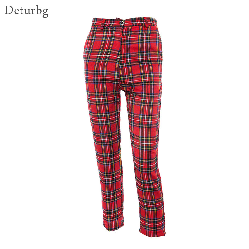 Women's Fashion Plaid Red Straight Pants Ladies Streetwear Harajuku High Waist Cotton Linen Trousers 2019 Autumn PA67 Pants