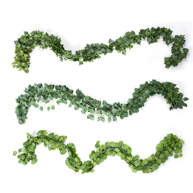 12pcs/lot long artificial plants green ivy leaves artificial