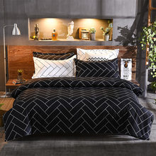 Plaid Bedding Sets Comforter Cover Set Nordic For Bed-clothes Black Bed Cover Adult Bed Linen For Full Queen Size(China)