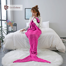 Liv-Esthete Rose Red Mermaid Tail Blanket Throw Blanket For Adult Kids Sofa Bed Sleeping Bag Wrap Knitted Blanket Best Gift winter sleeping bag bed throw wrap mermaid blanket