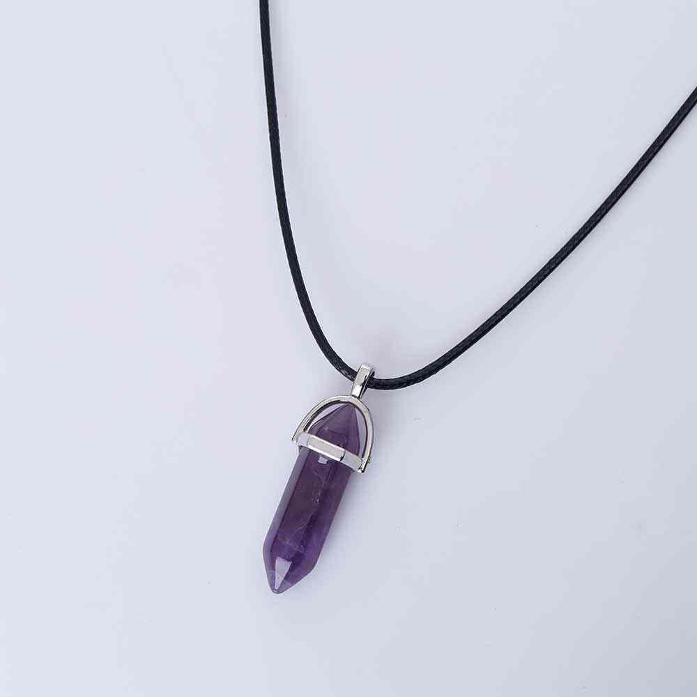KISSWIFE sześciokątna kolumna naturalny kryształ turquoises tygrysie oko pendentif ametysty kamień wisiorek skórzany naszyjnik łańcuszkowy dla Wo