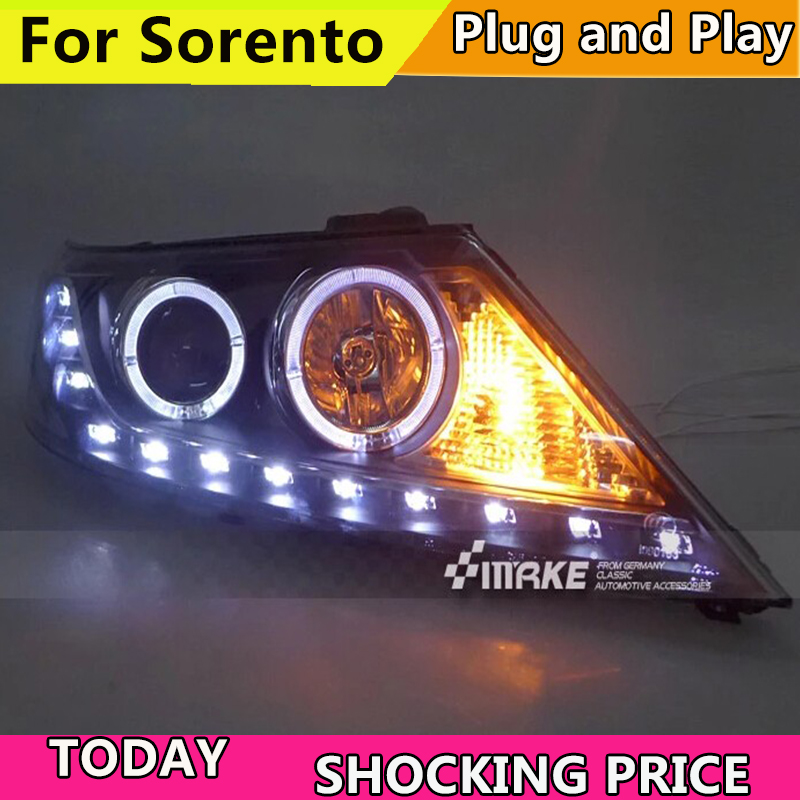 Car styling For Kia Sorento Headlights 2009 2013 year Sorento LED Headlight Double angel eye headlamp BI XENON front accessories
