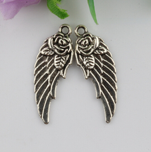 200 Pcs Tibetan silver zinc alloy flower leaf charm pendant wings Feather 31x11mm (3668)