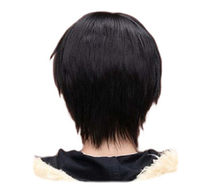 QQXCAIW Men Boy Short Straight Cosplay Men Party Black 32 Cm Heat Resistant Synthetic Hair Wigs(China)