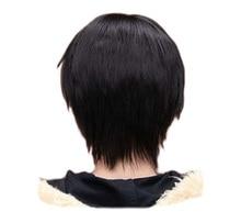 QQXCAIW Men Boy Short Straight Cosplay Men Party Black 32 Cm Heat Resistant Synthetic Hair Wigs